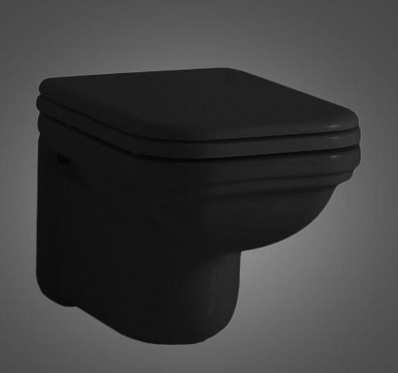 Kerasan Waldorf Унитаз подвесной 55х37см, цвет черный глянцевый с сиденьем черным шарниры хром микролифт