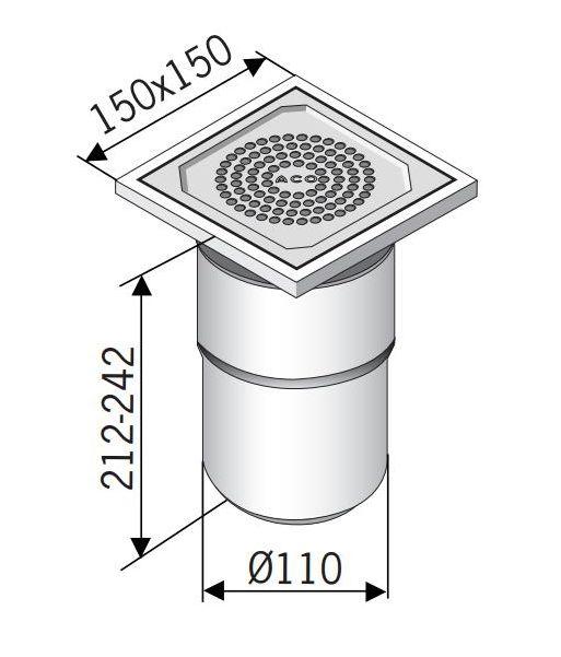 Сливной трап ACO 97200 EG 150 прямой подвод