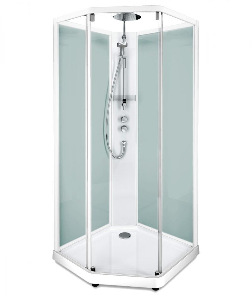 Душевая кабина IDO Showerama 10-5 Comfort 558.201.303, 90х90 см, стекло прозрачное, задние стенки матовые, профиль белый
