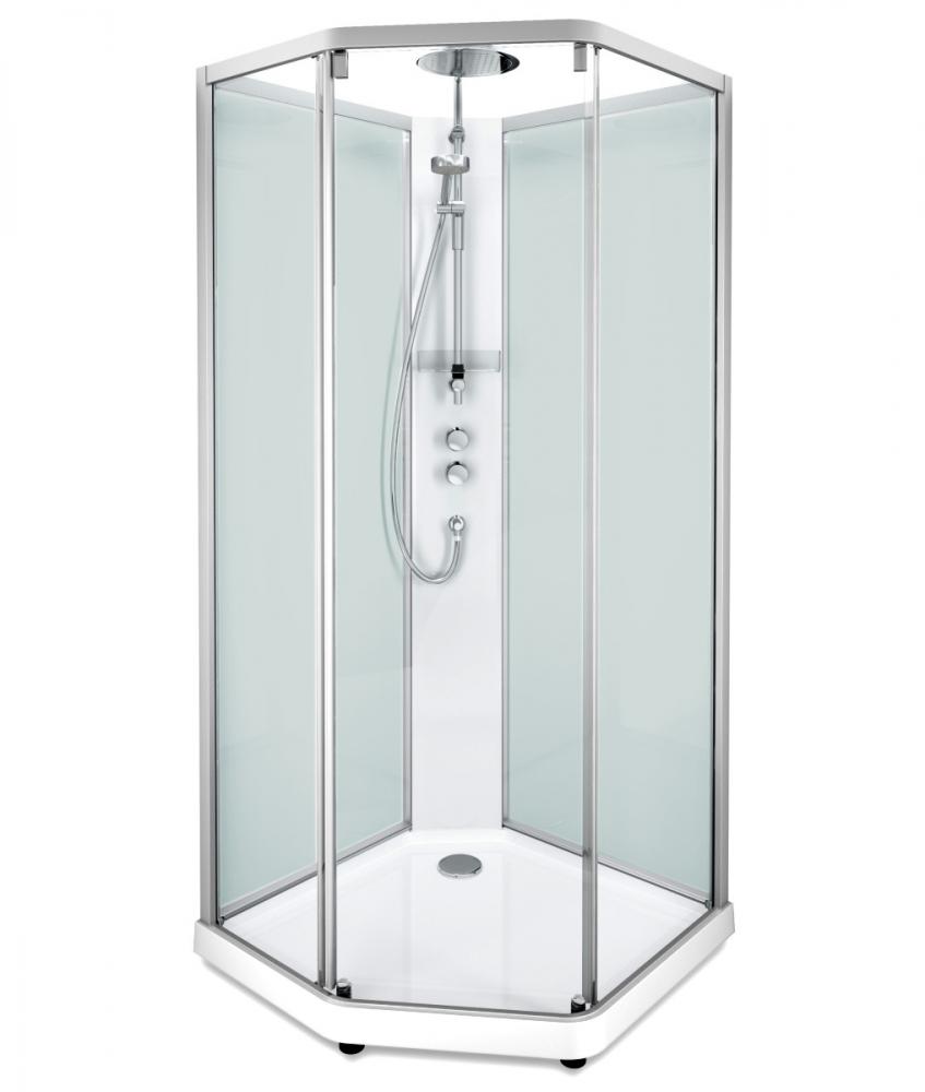 Душевая кабина IDO Showerama 10-5 Comfort 558.202.304, 90х90 см, стекло прозрачное, задние стенки матовые, профиль алюминий