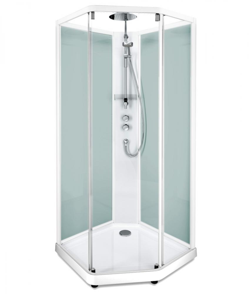 Душевая кабина IDO Showerama 10-5 Comfort 558.203.307, 90х80 см, стекло прозрачное, задние стенки матовые, профиль белый