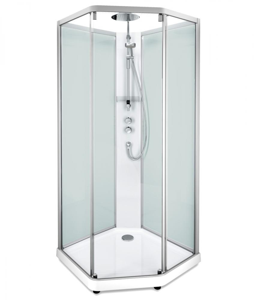 Душевая кабина IDO Showerama 10-5 Comfort 558.204.308, 90х80 см, стекло прозрачное, задние стенки матовые, профиль алюминий