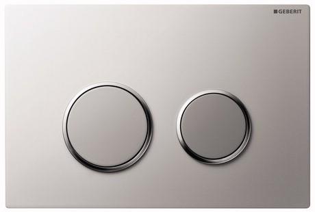 Клавиша Geberit Sigma 20 арт. 115.778.KN.1, рамка и кнопки: хром матовый, обод: хром глянцевый, двойной смыв, 246*164 мм