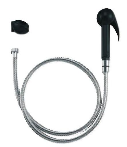 Гигиенический гарнитур Jacob Delafon E75089-CP, лейка черного цвета с шлангом 1,25м и держателем