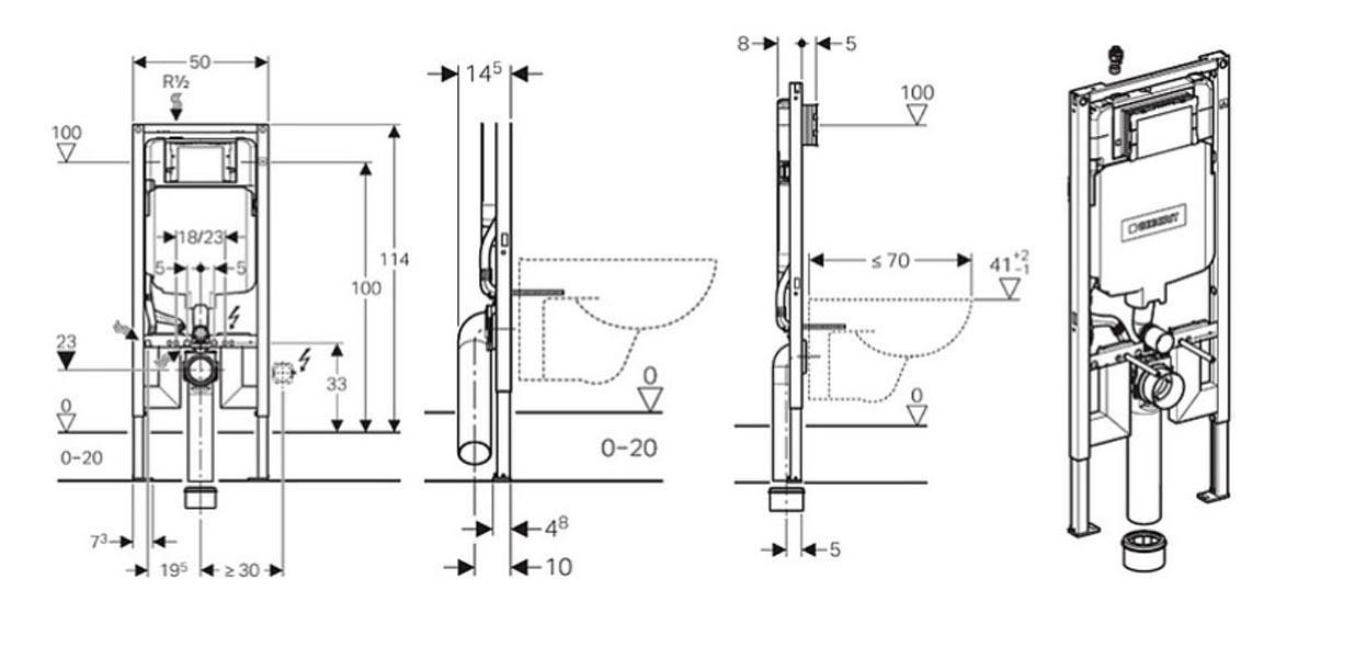 Инсталляция Geberit Duofix Sigma 8 UP720 111.796.00.1 для унитаза, узкая