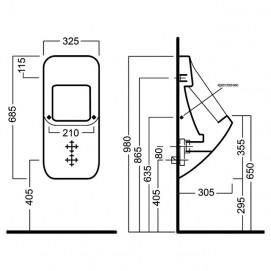 Писсуар Hatria Fusion Q YXE101 подвесной с отверстием для крышки
