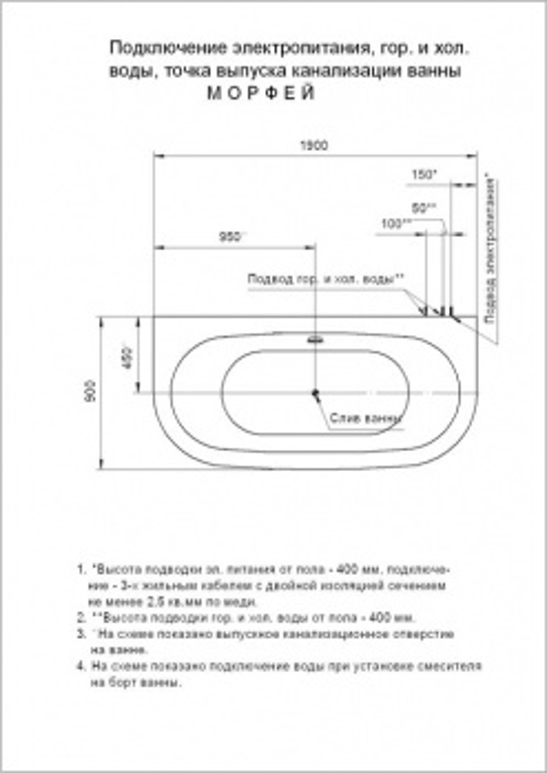 Ванна акриловая Aquatek Морфей 190*90 см