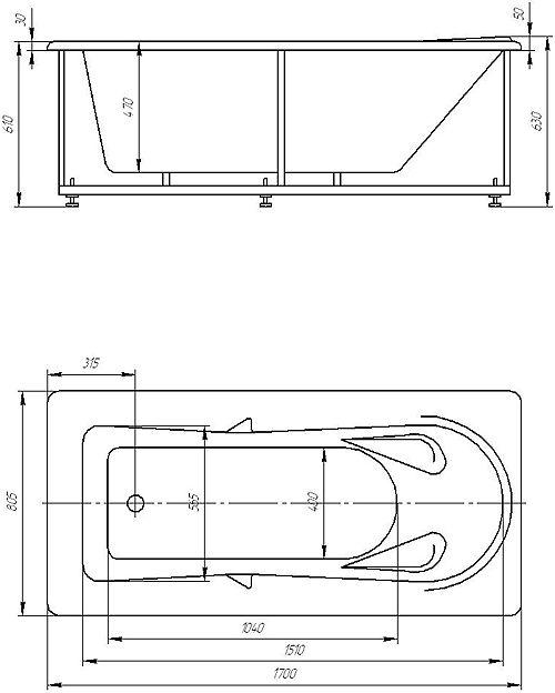 Акриловая ванна Акватек Леда 170 х 80 см