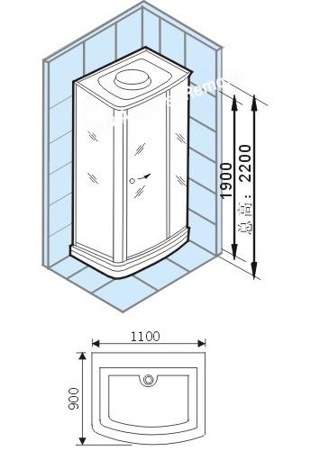 Душевая кабина Appollo TS-35W L/R 110*90*220 см с гидромассажем