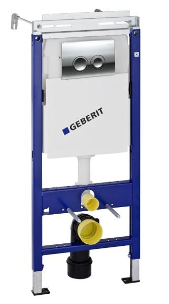Инсталляция Geberit Plattenbau UP182 458.122.21.1(458.162.21.1) с кнопкой 115.125.21.1, хром