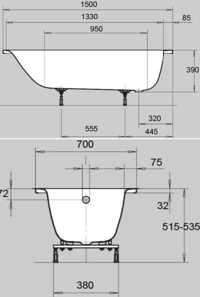 Стальная ванна Kaldewei Eurowa 1196.1203.0001, 150*70*39 см