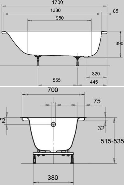 Стальная ванна Kaldewei Eurowa 1198.1203.0001, 170*70*39 см