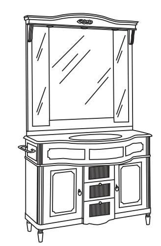 Мебель для ванной комнаты Eurodesign Luigi BS040027, Patinato Avorio/фурнитура хром/без мрамора