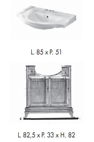 Мебель для ванной комнаты Labor Legno MARRIOT Composizione M105, вишня/бронза, 85 см