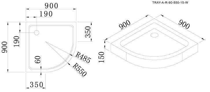 Поддон акриловый Cezares TRAY-A-R-90-550-15-W, с сифоном в комплекте