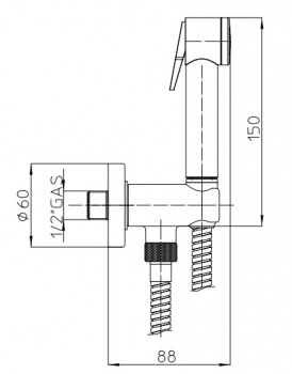 Комплект гигиенический Bossini Paloma C69001.030 для биде, хром