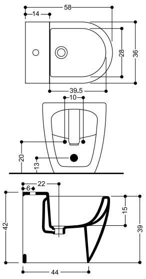Биде Axa Evolution 2502001 с креплением к полу