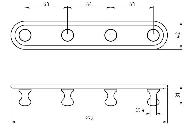 Вешалка с 4-я крючками Novaservis Novatorre 1 6143.0, хром