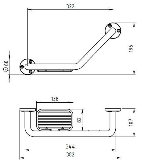 Поручень для ванны Novaservis Novatorre 1, арт. 6165.0  с мыльницей, хром