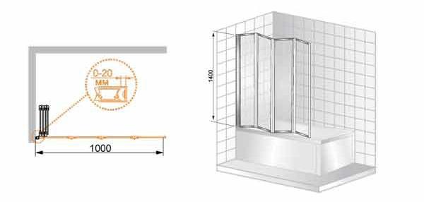 Шторка на ванну Cezares PRATICO-V-4-100/140-Cr