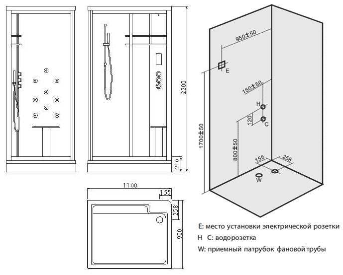 Душевая кабина Edelform Quadro EF-4050 LBS/RBS 110*90 см