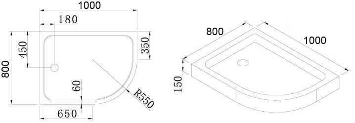 Поддон акриловый Cezares TRAY-A-RH-100/80-550-15-W без сифона