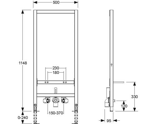 Монтажный элемент Mepa VariVIT, арт.549006, для биде, 120 см