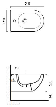 Биде Catalano Sfera арт. 1BSF5400 подвесное