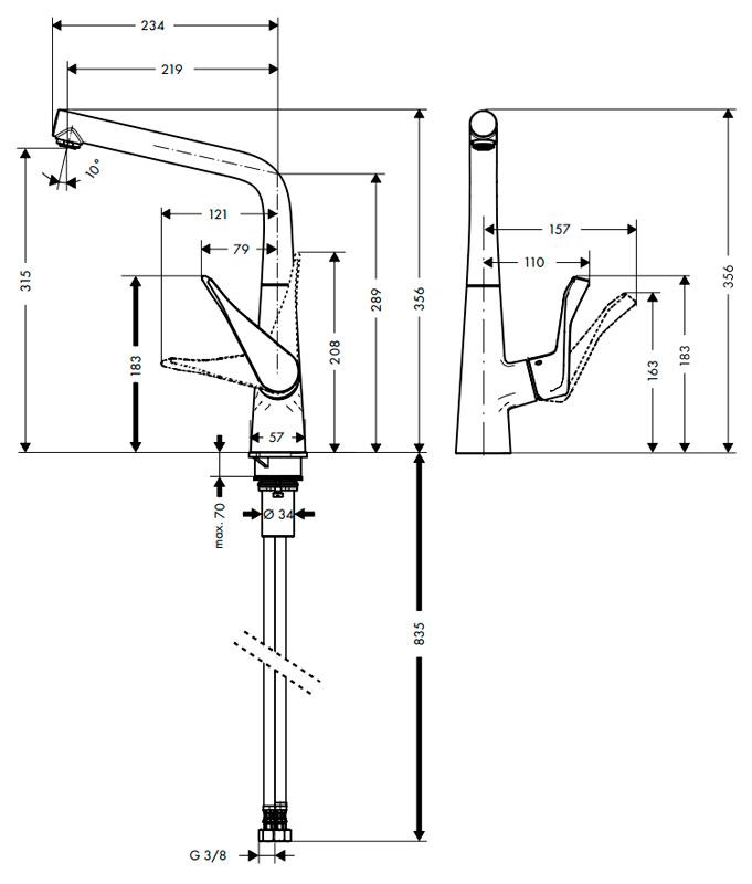 Смеситель Hansgrohe Metris 14822800, для кухни, цвет сталь
