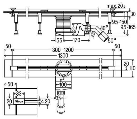 Душевой лоток Viega Advantix Vario под щелевую дизайн-вставку мод. 4965.10 686277