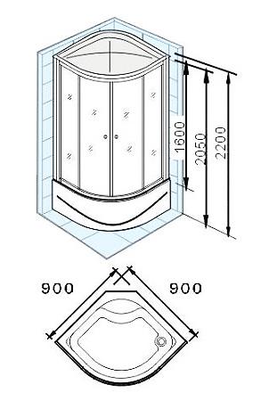 Душевая кабина Appollo AW-5026 90*90*215 см