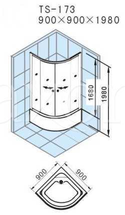 Душевой уголок Appollo арт. TS-173 90*90*200 см