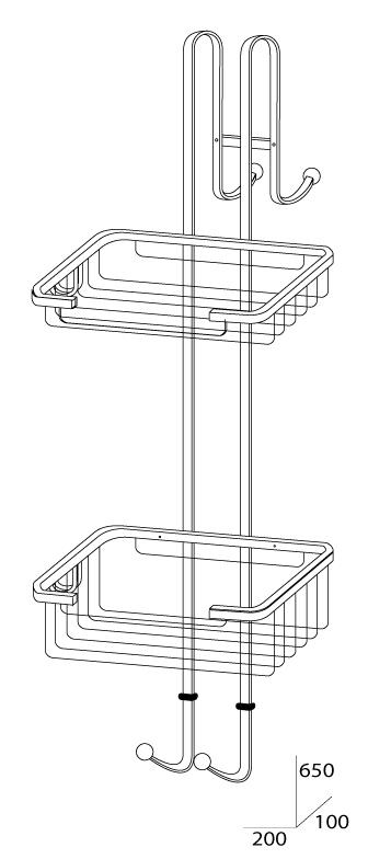 Штанга с полочками-решетками для душевой кабины FBS Ryna RYN 028