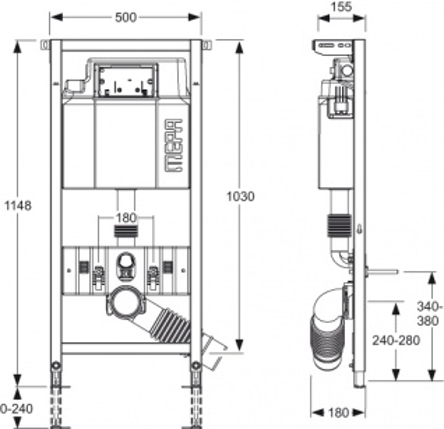 """Монтажный элемент Mepa VariVIT Step-WC 514804 для подвесного унитаза с крепежом """"Е"""""""