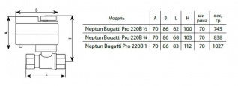 Кран шаровый с электроприводом Neptun Bugatti Pro 220 В 1 43054037000004