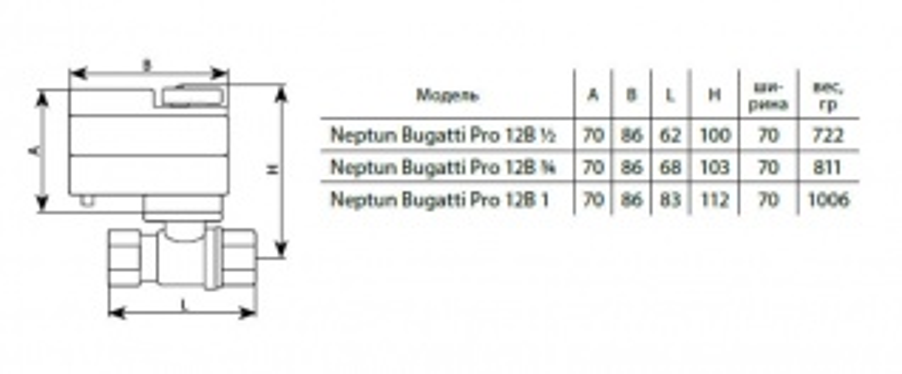 Кран шаровый с электроприводом Neptun Bugatti Pro 12 B 3/4 43054037000003