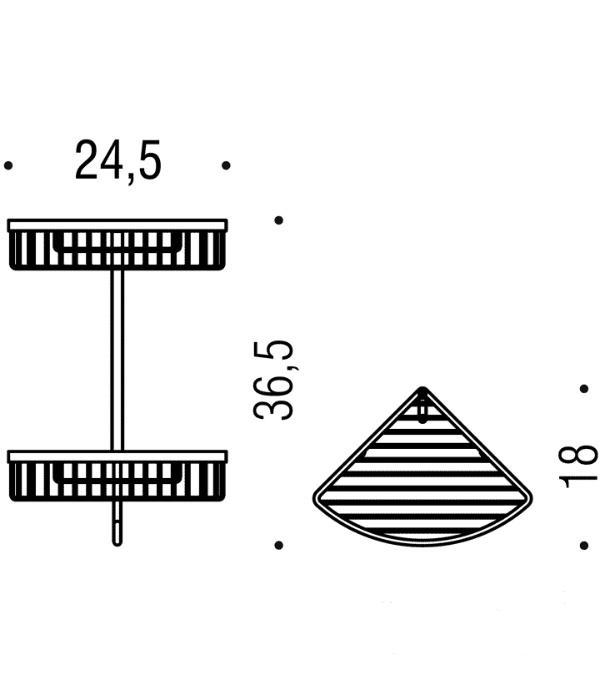 Двойная угловая полочка с крючком Colombo Complimenti B9617