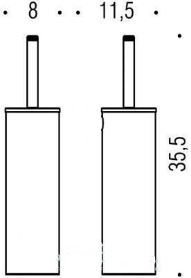 Ершик Colombo Basic B2706, с колбой, напольный 35.5см, хром
