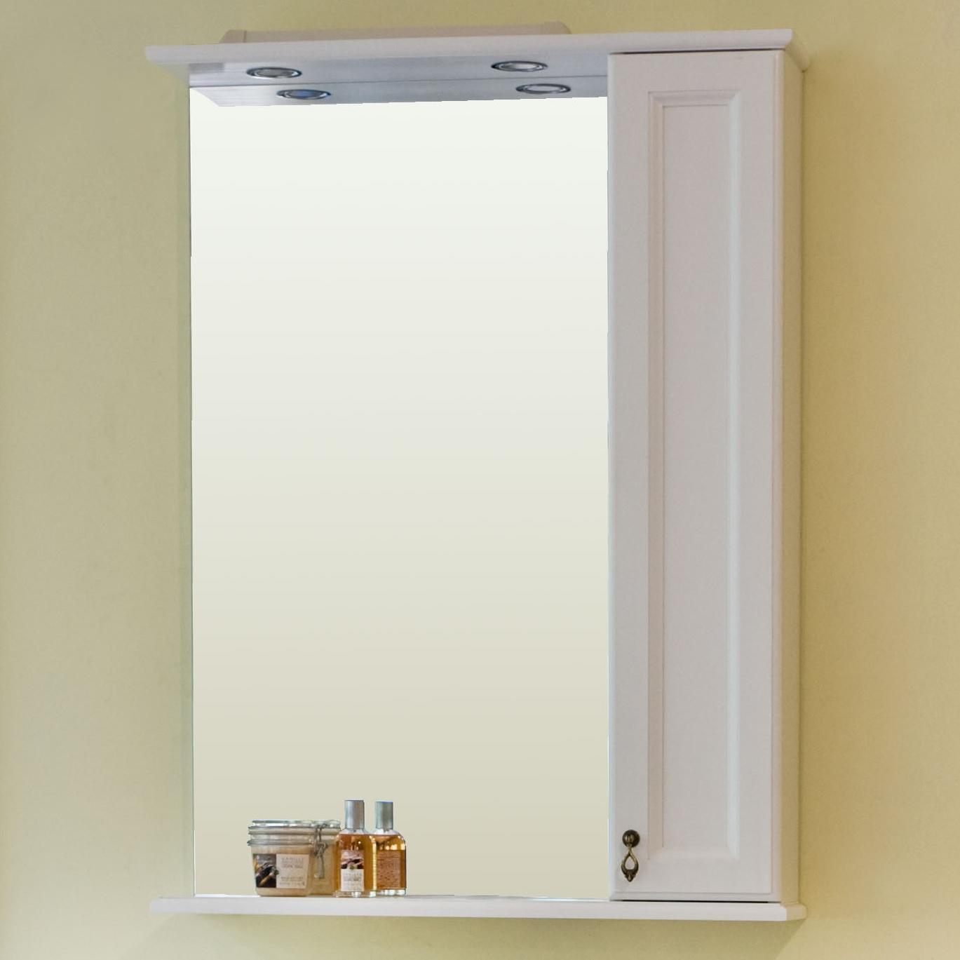 Зеркало Аллигатор МИЛАНА 2-65R/L, с подсветкой и шкафчиком, 65*17*99,5 см