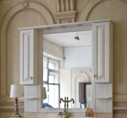 Зеркало с подсветкой Аллигатор CAPAN 140B(D), с двумя шкафчиками, 140*17*115 см