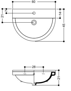 Раковина Axa One 1303101, 60 см