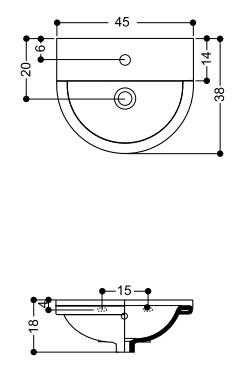 Раковина Axa One 1303401, 45 см