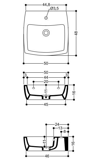 Раковина Axa X-Tre 1909101, 50*48 см