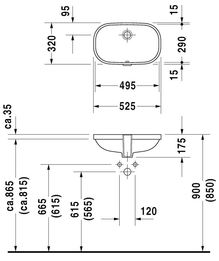 Размеры накладных раковин в ванную