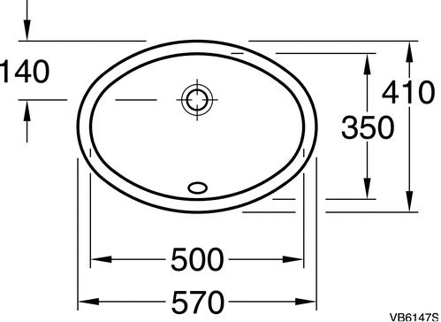 Раковина Gustavsberg 6147-98, GB1561479801 овальная, врезная снизу