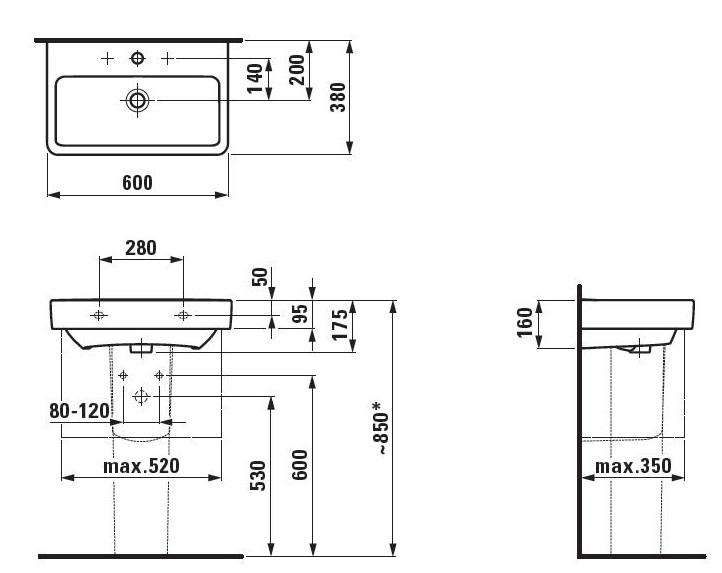 Раковина Laufen Pro A 8.1895.9.000.104.1 60*38 см