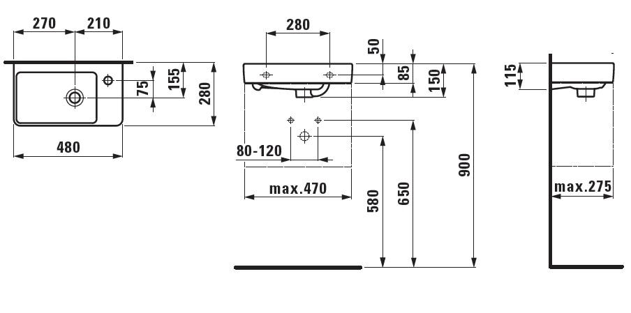 Раковина Laufen Pro A 8.1595.4/5.000.104.1 L/R, 48*28 см