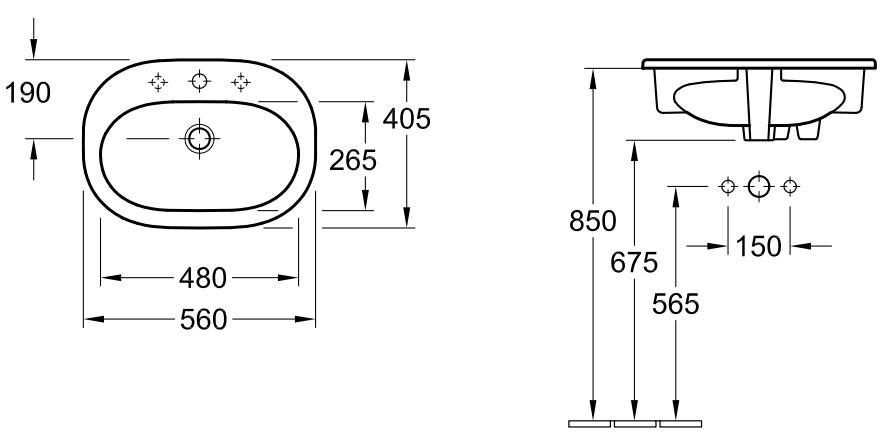 Раковина Villeroy&Boch O.novo, 4161 5601, 56*40,5 см, врезная