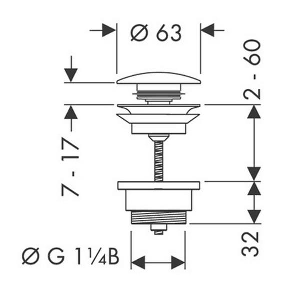 Донный клапан Hansgrohe Push-open 50100000, для раковины с переливом, хром