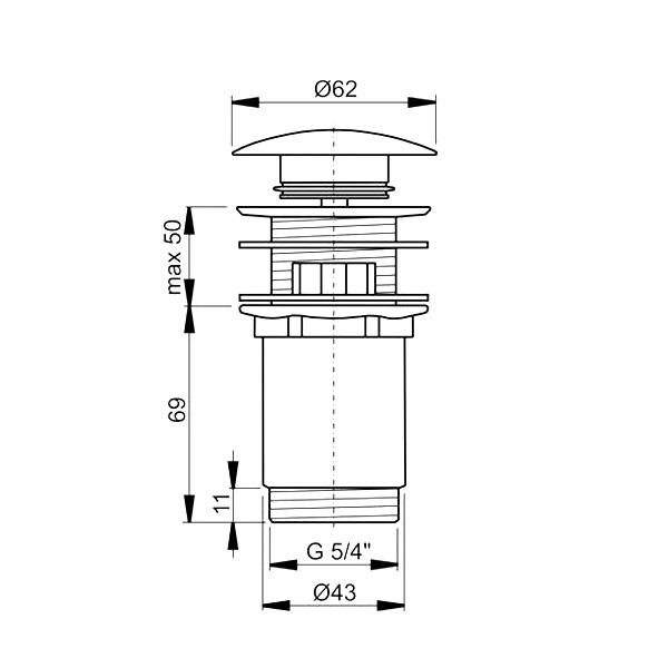 """Донный клапан Ravak с переливом X01373, """"клик-клак"""", хром"""